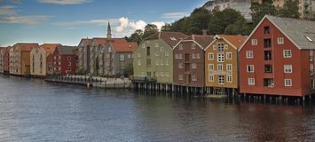 Trondheim houses. Trondheim the historical city. Is situated on Nidelva river in Norway Royalty Free Stock Image