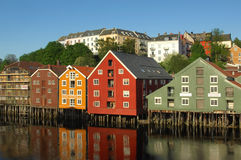 Trondheim , Norway. Typical houses on the river Nidelva ,Trondheim founded by the Vikings, is the third largest city in Norway stock photo