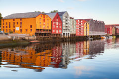 Trondheim, Norway. Colorful old wooden houses stock photos