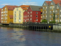 Trondheim old house over a river Royalty Free Stock Images