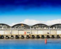 Trondheim ship docks bokeh background Royalty Free Stock Photos