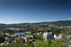 Trondheim viewpoint. A view overlooking the city of Trondheim in summer Royalty Free Stock Photo