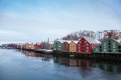 Trondheim winter cityscape Norway Royalty Free Stock Images