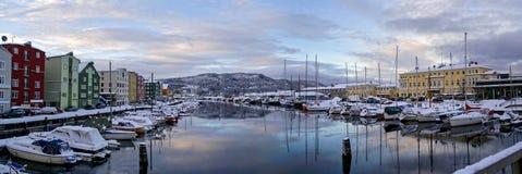 Trondheim winter panorama. From the bridge Royalty Free Stock Photo