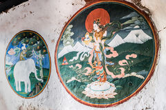 Trongsa, Μπουτάν - 12 Σεπτεμβρίου 2016: Αρχαίες τοιχογραφίες στο Tron Στοκ Φωτογραφία