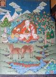 Trongsa Bhutan - September 13, 2016: Forntida väggmålning på Trongsaen Dzong, Trongsa, Bhutan Royaltyfria Foton