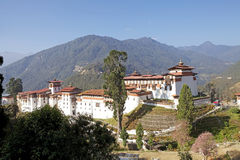 Trongsa Dzong, Trongsa, Bhutan. Trongsa Dzong is the largest dzong fortress in Bhutan. A temple was first established at the location in 1543 by the Drukpa Stock Photography