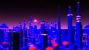 Tronica. A pan over a futuristic cityscape stock footage
