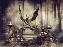 Trono de pedra entre os crânios ilustração royalty free