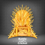 Trono fatto dei pipistrelli di cricket Immagine Stock