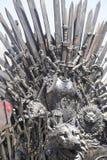 Trono imperiale e reale fatto delle spade del ferro, sedile del re, sy Immagine Stock