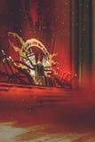 Trono oscuro de la fantasía con las cortinas rojas stock de ilustración