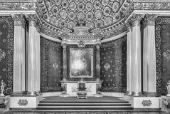Trono pequeno Salão, museu de eremitério, St Petersburg, Rússia fotos de stock