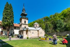 The Tronosa Monastery is a Serbian Orthodox monastery to the 14th Century, one of the oldest Orthodox. Loznica, Serbia - April 21, 2019: The Tronosa Monastery stock image