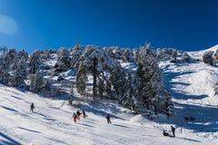 Troodos är den största bergskedjan i Cypern royaltyfri bild