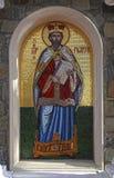 Saint Prophet Moses Mosaic icon in greek orthodox church, Cyprus. TROODOS, CYPRUS - JANUARY 10, 2018: Saint Prophet Moses Mosaic icon in greek orthodox church stock photo