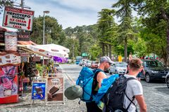TROODOS, CYPRUS - MAY 20, 2018: View of Troodos square Royalty Free Stock Photos