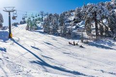 Troodos est la gamme la plus étendue de montagne en Chypre Images stock