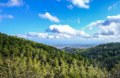 Troodos mountain top view in springtime. With beautiful sky Stock Photo