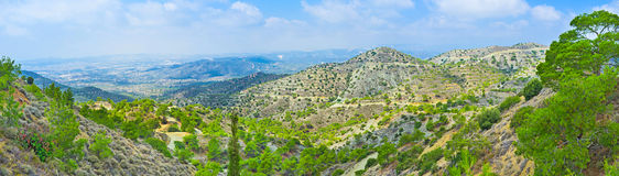 The Troodos mountains. The scenic landscape of the Troodos from the Stavrovouni mountain, Cyprus Stock Images