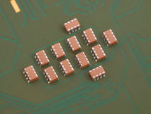 Troop of ceramic capacitors. Group of ceramic capacitors on pcb board Stock Photo