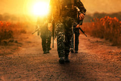Troop of long range patrol military army Royalty Free Stock Photos