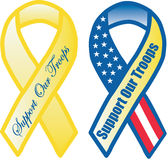 Troop Support Ribbons. Show your support for the US military members using these 2 different support ribbon styles stock illustration