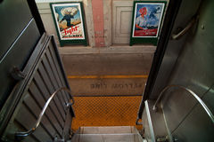 Troop train and posters. Historic posters can be seen from stairs of Pearl Harbor Day Troop train reenactment from Los Angeles Union Station to San Diego Royalty Free Stock Photos