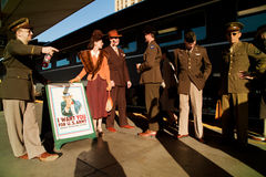 Troop Train and Uncle Sam. 1940's reenactors stand in front of Pearl Harbor Day Troop train reenactment from Los Angeles Union Station to San Diego Stock Photo