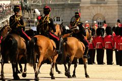 Trooping the Colour ceremony, London UK. Three horses standing in foreground royalty free stock images