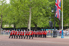 2016 Trooping the Color ceremony during Sovereign's official birthday. Guards in Bearskins during the Trooping the Color ceremony on The Mall, in London, England Stock Image
