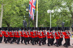 2016 Trooping the Color ceremony during Sovereign's official birthday. Guards marching in Bearskins along The Mall during Trooping the Color ceremony, in London Stock Image