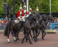 2016 Trooping the Color ceremony during Sovereign's official birthday. Horse Guards riding along The Mall during Trooping the Color ceremony, in London, England Royalty Free Stock Photos