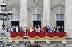 Trooping the Colour, London 2012. LONDON, UK - June 16: The Royal Family appears on Buckingham Palace balcony during Trooping the Colour ceremony, on June 16 Royalty Free Stock Photo
