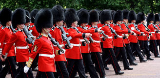 Trooping The Colour 2017 London England. Marching Guardsmenin The Mall London England Royalty Free Stock Images