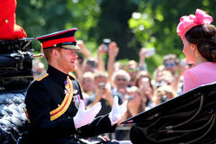 Trooping The Colour London England. London England 17th June 2017  HRH Prince Harry in The Mall on way to Trooping The Colour Royalty Free Stock Image