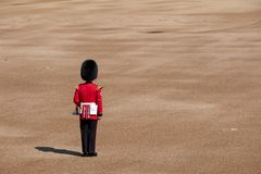 Trooping the Colour parade at Horse Guards, London UK, with soldier in iconic red and black uniform and bearskin hat. Annual Trooping the Colour ceremony at royalty free stock photo