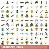 100 troops icons set, flat style. 100 troops icons set in flat style for any design vector illustration Royalty Free Stock Photo