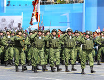 Troops on parade line. MOSCOW - MAI 7:  Troops in new combat  uniform II in solemn march on Red Square -  on Mai 7, 2015 in Moscow Stock Images