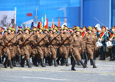 Troops on parade line. MOSCOW - MAI 7: Line of of parade troops on the parade training on Red Square - on Mai 7, 2015 in Moscow royalty free stock image