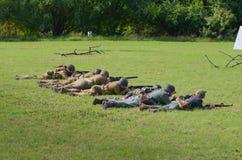Troops in WWII reenactment Stock Photos