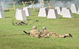 Troops in WWII reenactment Royalty Free Stock Images