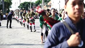 Troops of Yogyakarta palace marching in festival. Yogyakarta - Indonesia. January 15, 2018: Group of Yogyakarta palace troops marching in a festival on the stock video