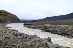 Troosteloos landschap van Askja-calderagebied, IJsland royalty-vrije stock foto