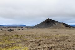 Troosteloos landschap van Askja-calderagebied, IJsland royalty-vrije stock fotografie