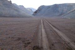 Troosteloos landschap van Askja-calderagebied, IJsland stock foto's