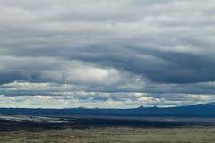 Troosteloos landschap van Kverfjoll-gebied, het panorama van IJsland stock afbeeldingen