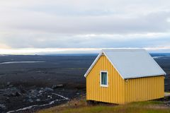 Troosteloos landschap van Kverfjoll-gebied, het panorama van IJsland stock fotografie