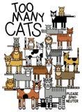 Trop de chats illustration libre de droits