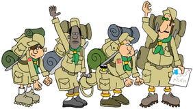 Tropa de boy scout en un alza con sus paquetes Fotografía de archivo libre de regalías